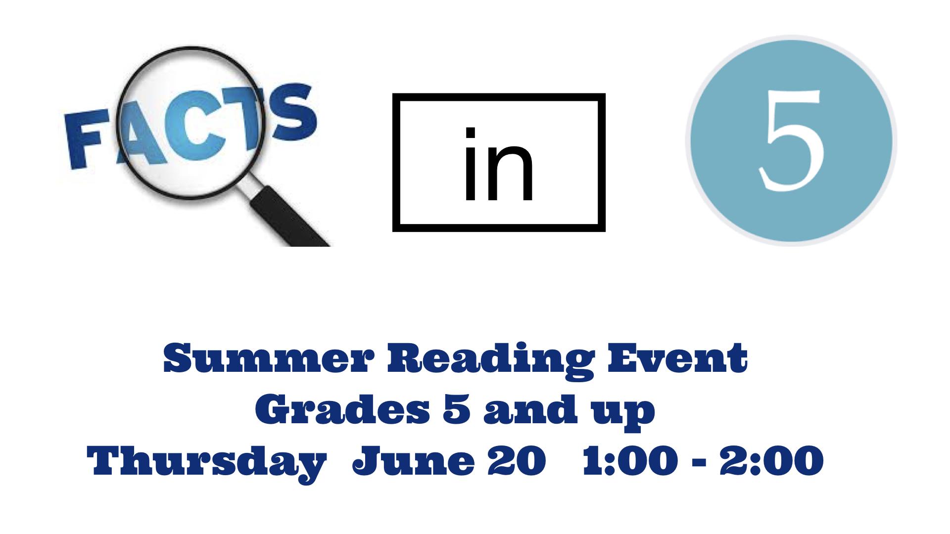 Summer Reading Program~June 20th