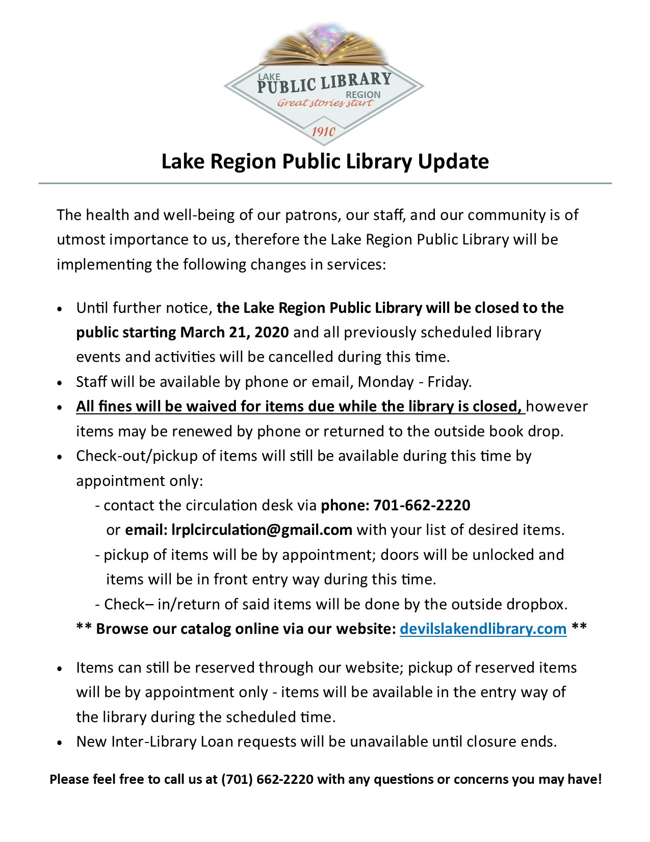 Library Services Update in regards to the (COVID-19)