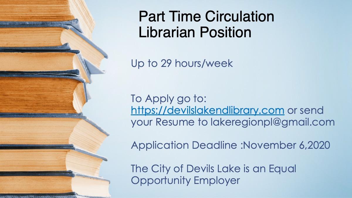 Job Opening -Circulation Librarian